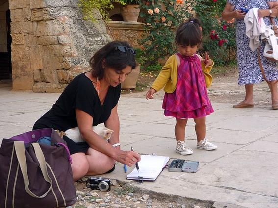 Croquis au Monastère d\'Arkadi, Stage Carnet de voyage dessin et aquarelle en Crète