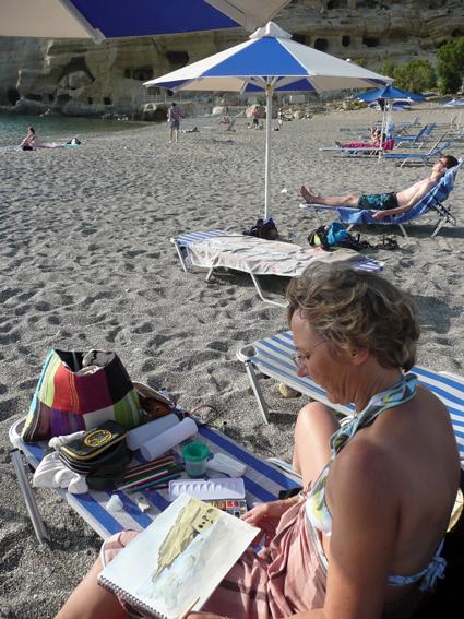 croquis de plage, Stage Carnet de voyage dessin et aquarelle en Crète