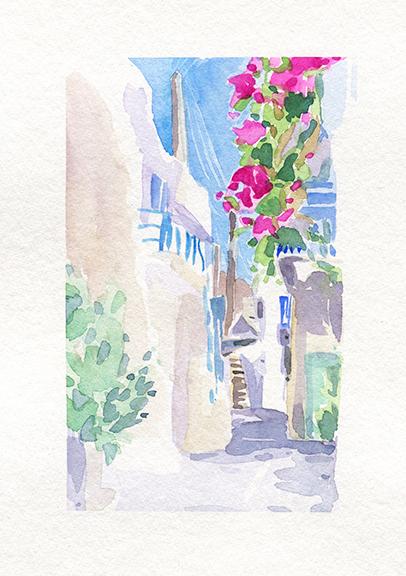 Carnet de voyage à Paros, Parikia. Aquarelle, Delphine Priollaud-Stoclet